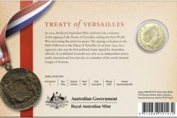 Australia – 1 and 5 dollars coins – 100 years Treaty of Versailles signature