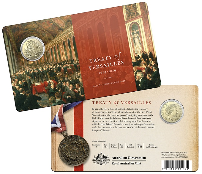 Australia - 1 and 5 dollars coins - 100 years Treaty of Versailles signature