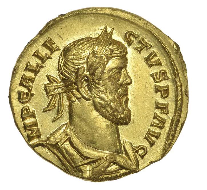 Un denier d'or, Aureus Allectus de 293 après J.-C, découvert dans un champ et vendu 620 000 €