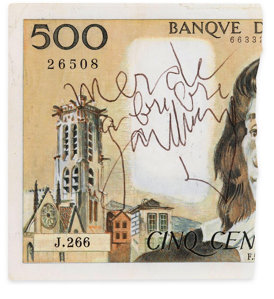 Un billet de 500 francs Pascal, déchiré par Gainsbourg, vendu chez Sotheby's