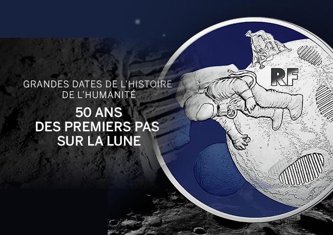 10 EUROS ARGENT BE 2019 – LES 50 ANS DES PREMIERS PAS SUR LA LUNE – MONNAIE DE PARIS