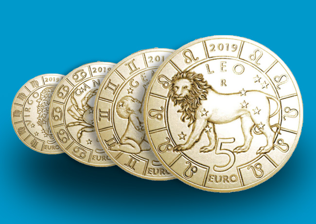 """Pièces de 5 Euros, brillant universel, série """"Zodiaque"""" millésime 2019  Saint-Marin"""