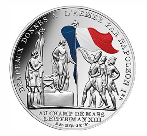 50 euros Argent colorisée - Le Drapeau français - vague 2
