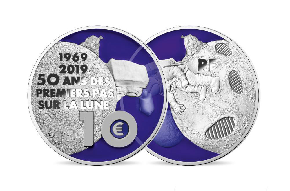 10 EUROS ARGENT BE 2019 - LES 50 ANS DES PREMIERS PAS SUR LA LUNE - MONNAIE DE PARIS