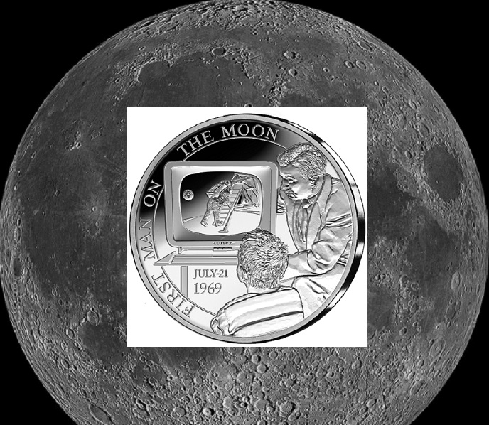 Proof silver €5 – Belgium 2019 -50 years first moon landing