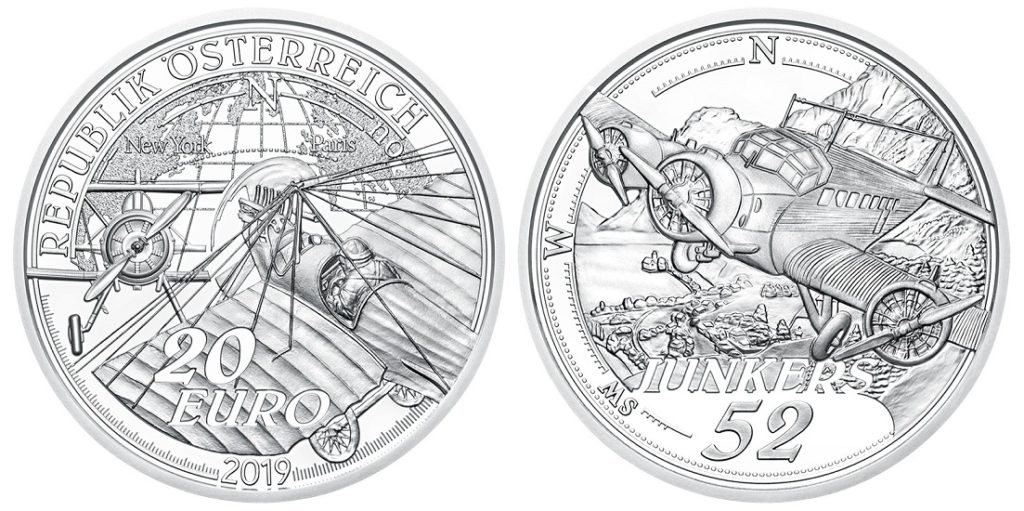 Austrian €20 silver coin celebrating Igo Etrich and Charles Lindbergh