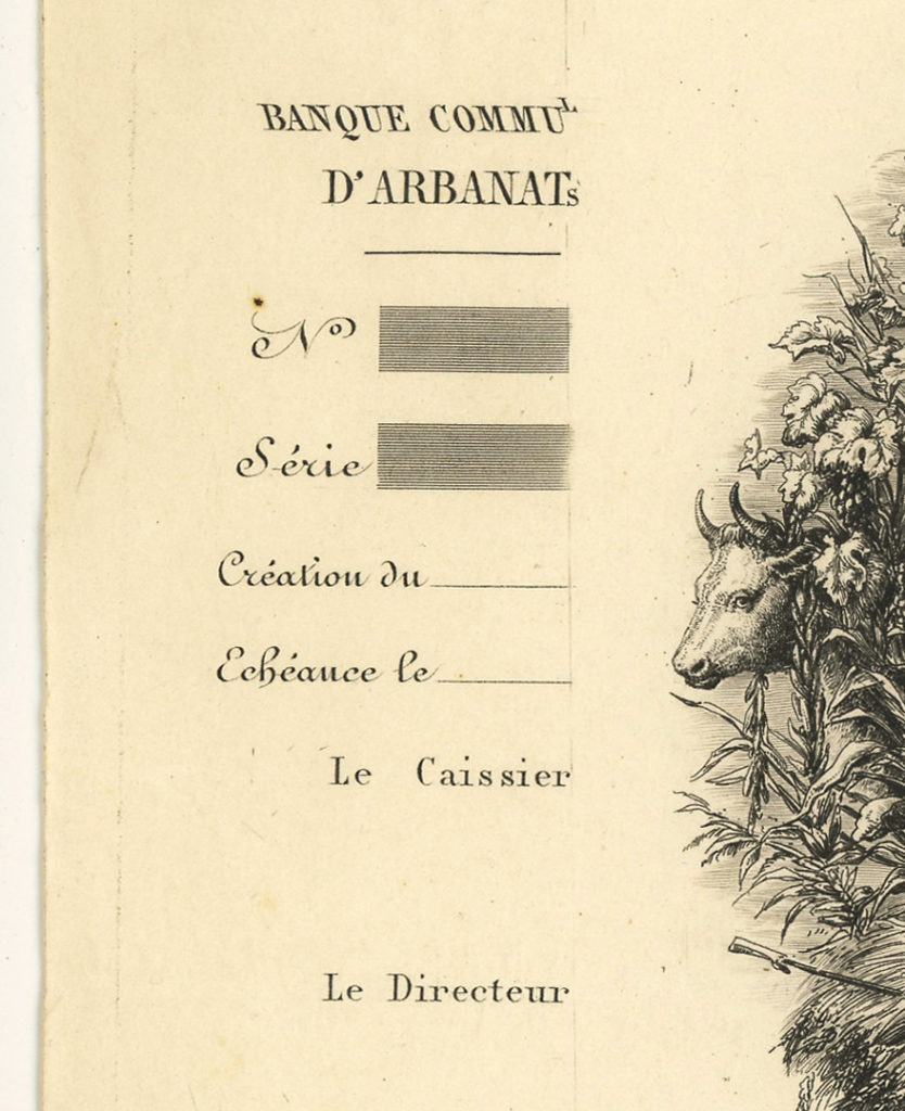 Billet de 5 francs de La Banque Communale d'Arbanats, fondée par Maurice de La Châtre