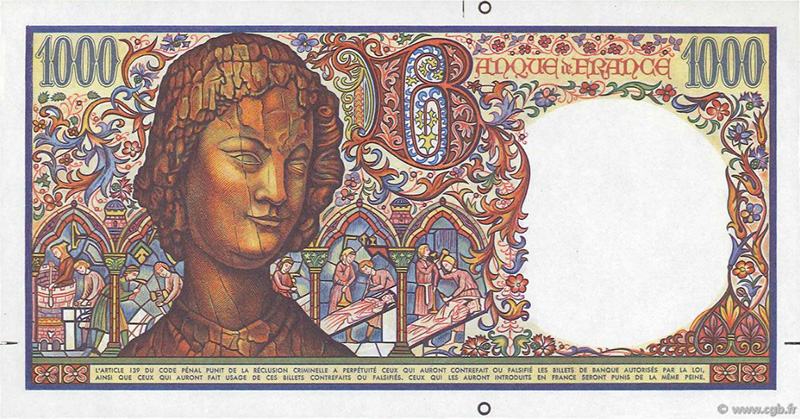 1000 Francs ART MÉDIÉVAL, l'Ange de Reims, type 1984