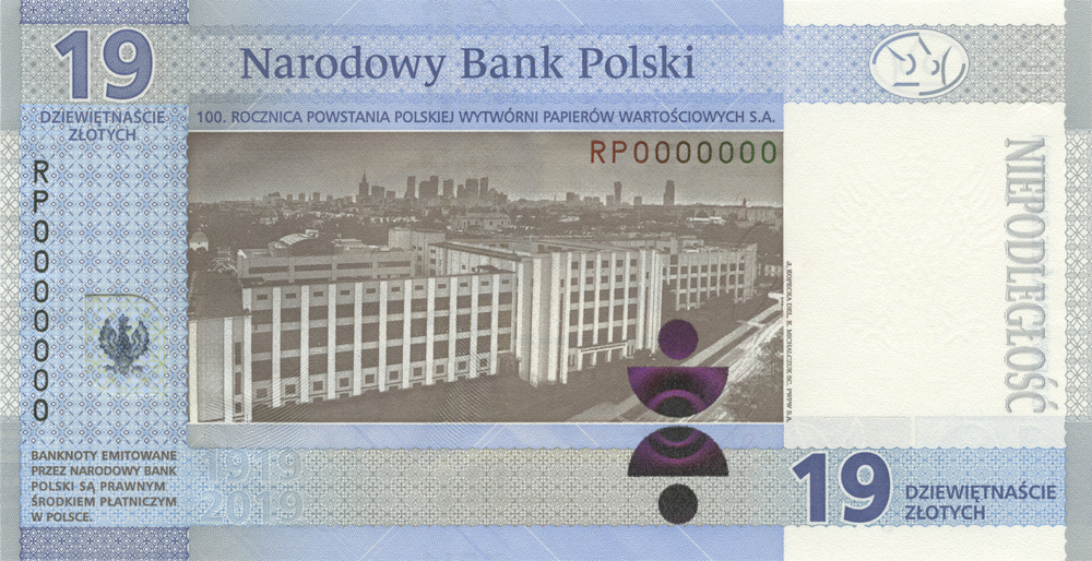 2019 Polish Security Printing Works commemorative Banknote of zl19