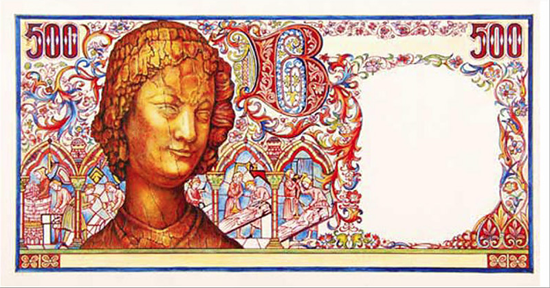 500 Francs ART MÉDIÉVAL, l'Ange de Reims, type 1980