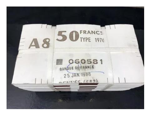 Brique de 1000 billets de 50 francs Quentin de la Tour