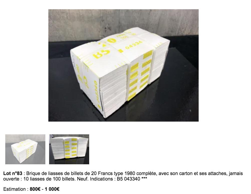Brique de 1000 billets de 20 francs Debussy type 1980