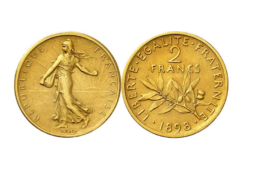 A 1898 2 francs gold coin that is worth at least €50 000!