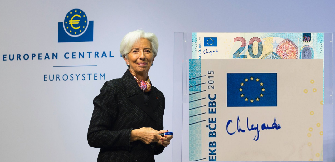 C. LAGARDE head of the ECB: a new signature on euro banknotes