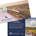 A colored australian coin celebrating 50th anniversary of Indian Pacific