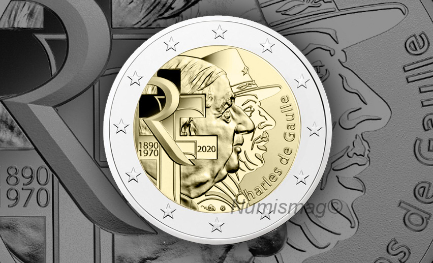 2020 french €2 commemorative coin celebrating General DE GAULLE