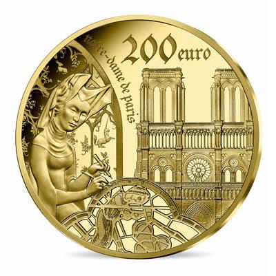 200 euros Or 1 once BE - l'âge du Gothique,Notre-Dame de Paris série EUROPA STAR 2020