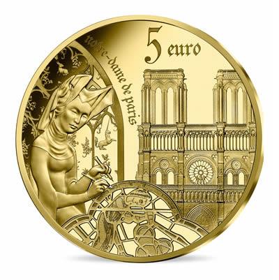 5 euros Or1/2 gramme BE - l'âge du Gothique,Notre-Dame de Paris série EUROPA STAR 2020