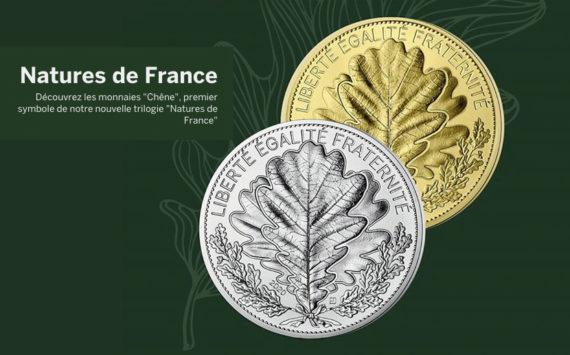 Série Nature de France – Monnaies de 20 et 100 € argent et 250€ Or, La feuille de chêne 2020