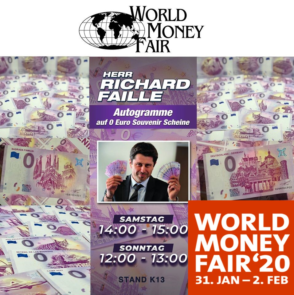 Le nouveau billet zero euro en taille douce – Berlin World Money Fair 2020