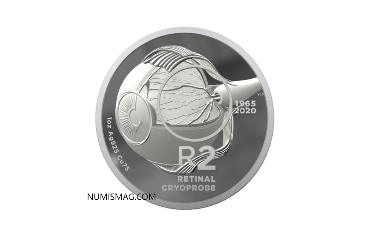 A 2020 south african coin celebrating ophtalmic research and Retinal Cryoprobe
