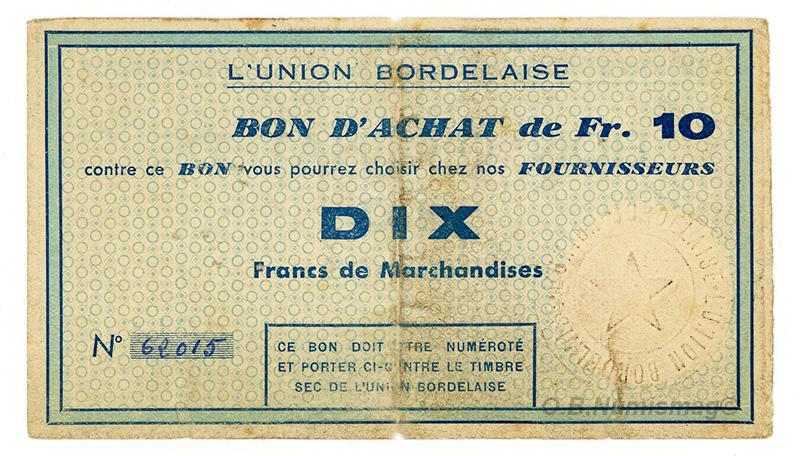 Bon de 10 francs de L'union Bordelaise
