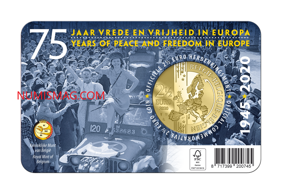 2020 belgian €2,5 coin celebrating 75 years of peace and freedom in Europe