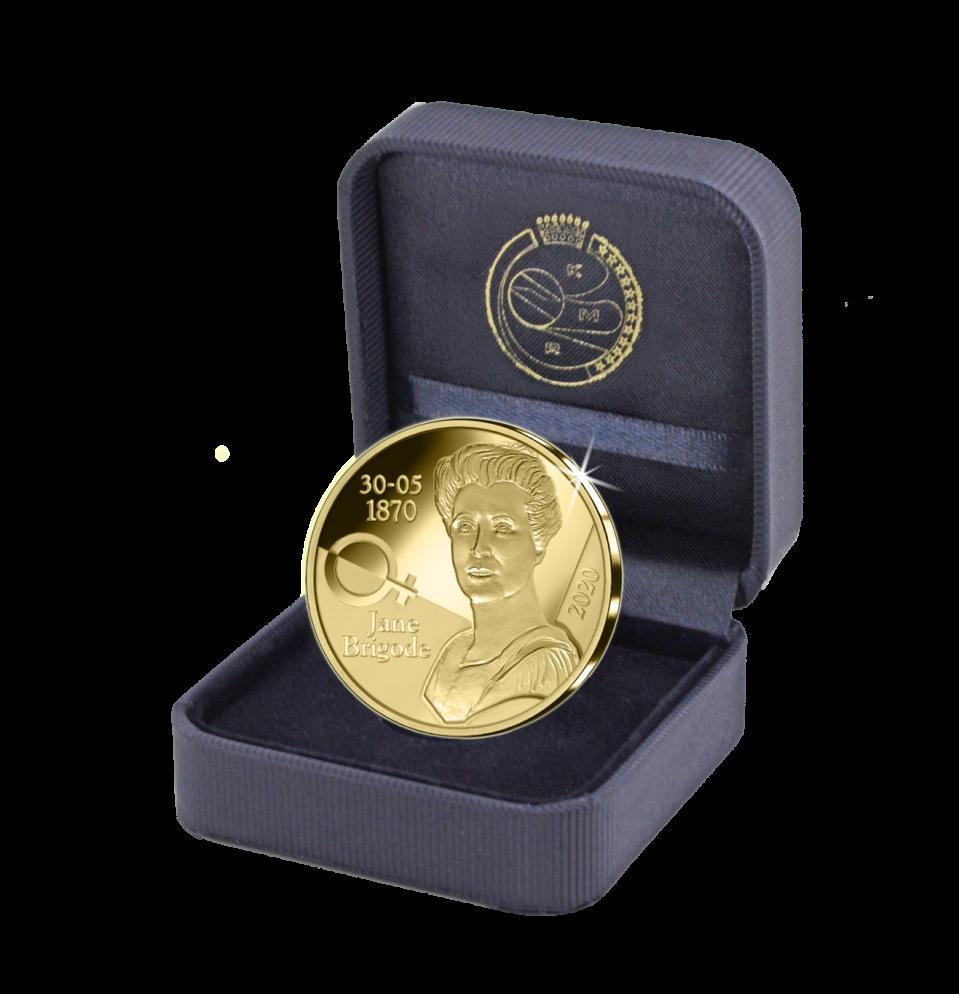 Pièce commémorative belge en or de 12,5€ - Jane Brigode