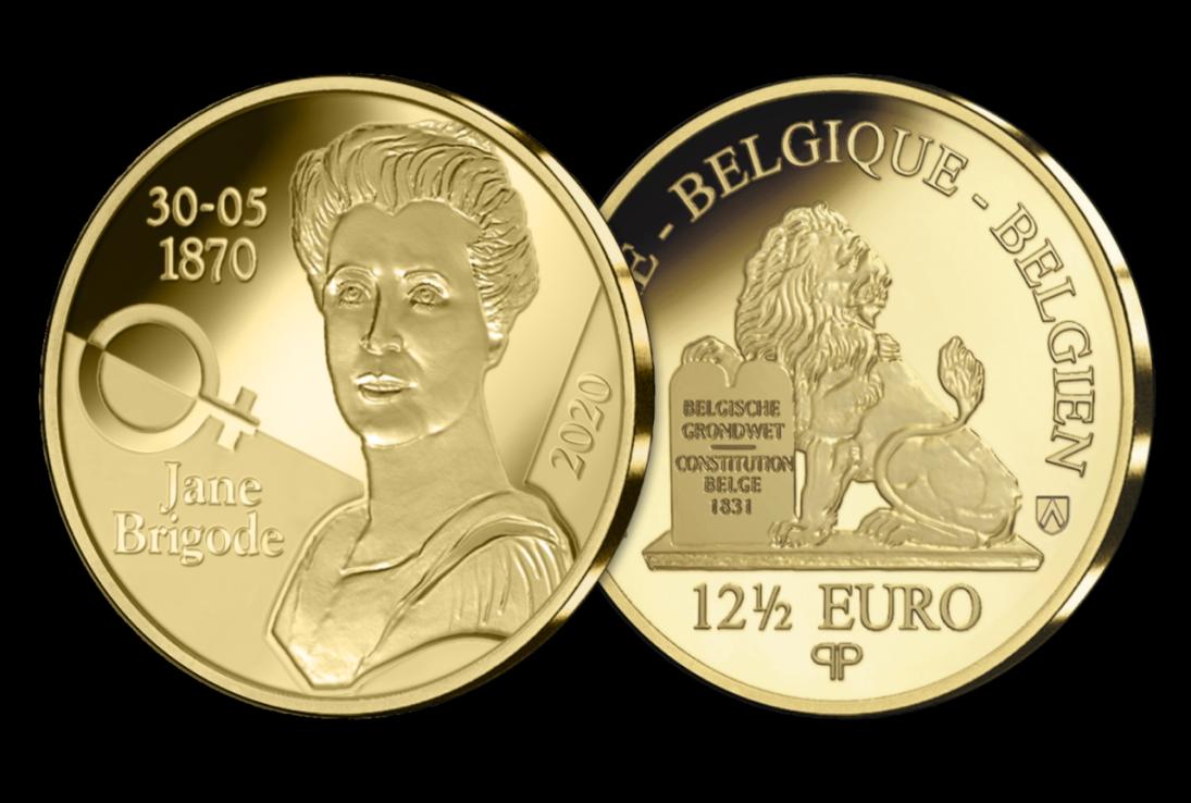 Pièce commémorative belge en or de 12,5€ – Jane Brigode
