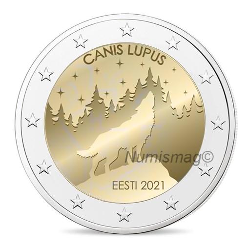 """2021 €2 commemorative coin - """"Estonian wolf"""""""