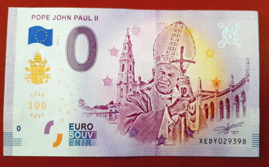 A 2020 zero euro banknote dedicated to pope John Paul II