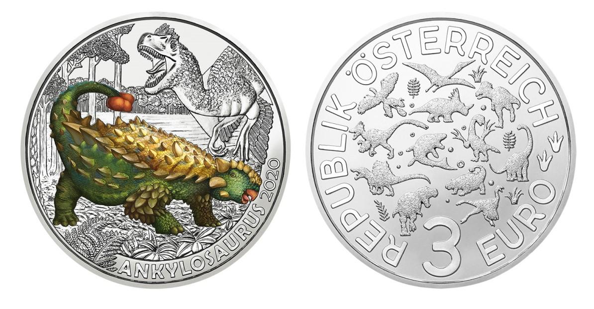 2020 €3 Ankylosaurus magniventris from austrian Mint