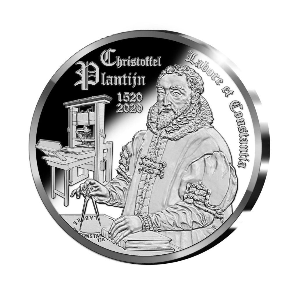 Pièce de 10€ commémorant l'imprimeur précurseur belge Christophe PLANTIN