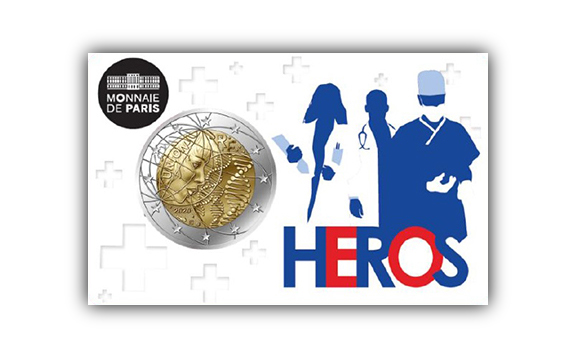2020 second french €2 commemorative coin - medical research and COVID19