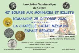 La bourse numismatique  2020 d'ORLEANS confirmée