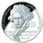 Piece en argent 10€ Beethoven 2020 frappée par MALTE