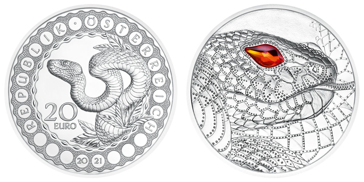 2021 €20 Austrian silver coin dedicated to the aboriginal rainbow snake