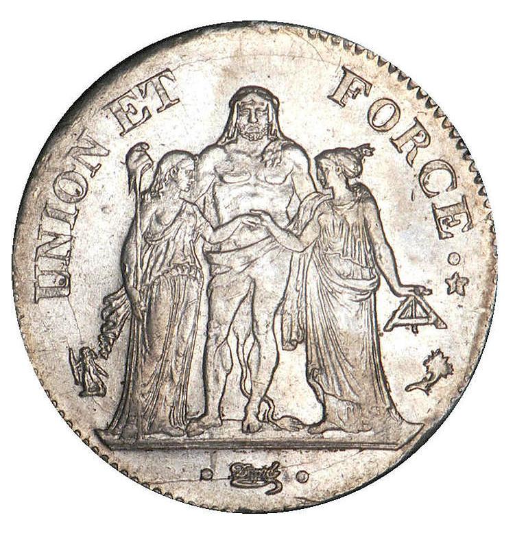 pièce de 5 francs Union et Force 1796 An 4
