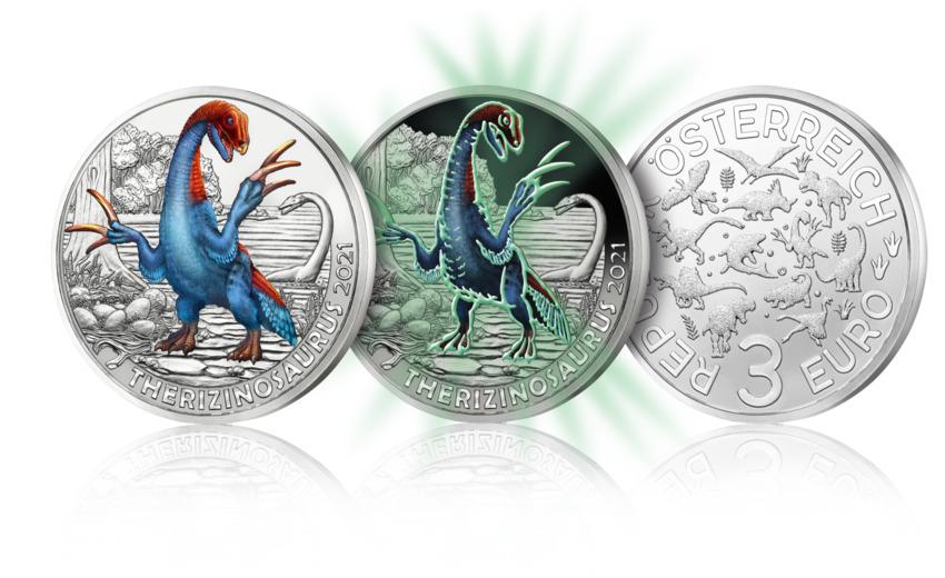 €3 Therizinosaurus cheloniformis from Austrian Mint