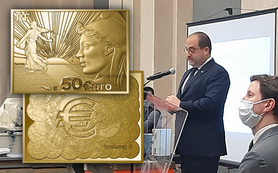 Frappe inaugurale de la nouvelle collection «La Semeuse» à la monnaie de Paris