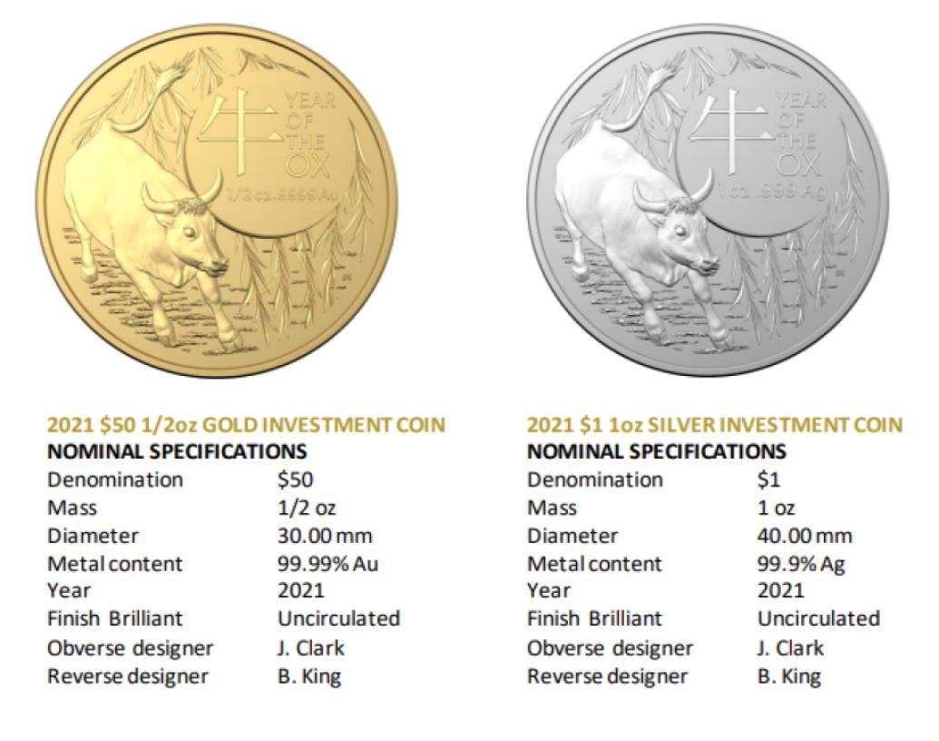 """Australie: la RAM célèbre l'année du boeuf (2021) avec des """"bullion coins"""""""