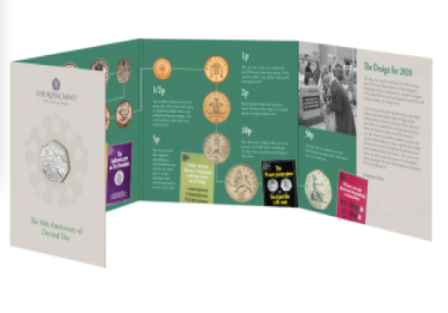 """2021 50 pence 50th anniversary of """"decimal day"""", from Royal Mint"""