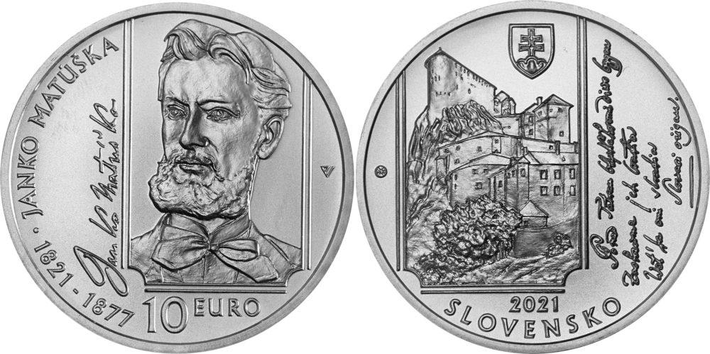 10€ slovaque 2021 - 200 ans de la naissance de Janko MATUSKA