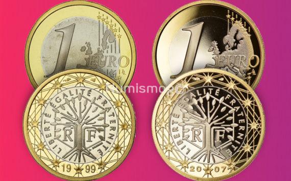 Tirages et Valeurs des pièces de 1 euro, France – pièces de circulations, BU, BE