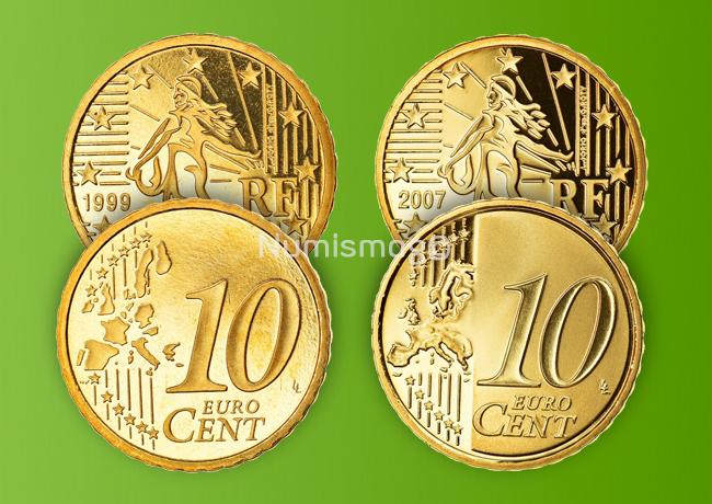 Tirages et Valeurs des pièces de 10centimesd'euro, 10cents, France - pièces de circulations, BU, BE