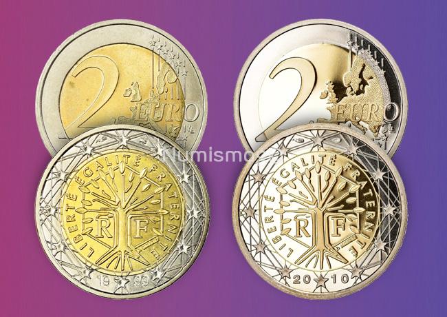 Tirages et Valeurs des pièces de 2 euro, France – pièces de circulations, BU, BE
