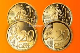 Tirages et Valeurs des pièces de 20centimesd'euro, 20cents, France – pièces de circulations, BU, BE