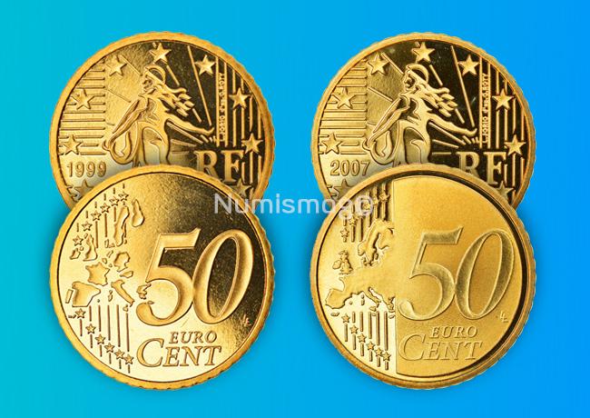 Tirages et Valeurs des pièces de 50centimesd'euro, 50cents, France – pièces de circulations, BU, BE