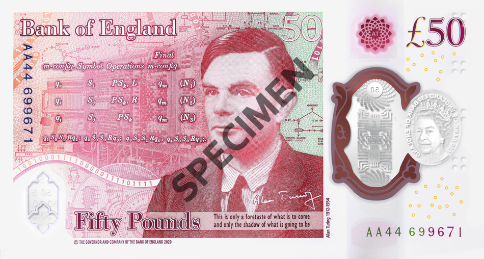 BoE unveiled new £50 pounds banknote - Alan TURING