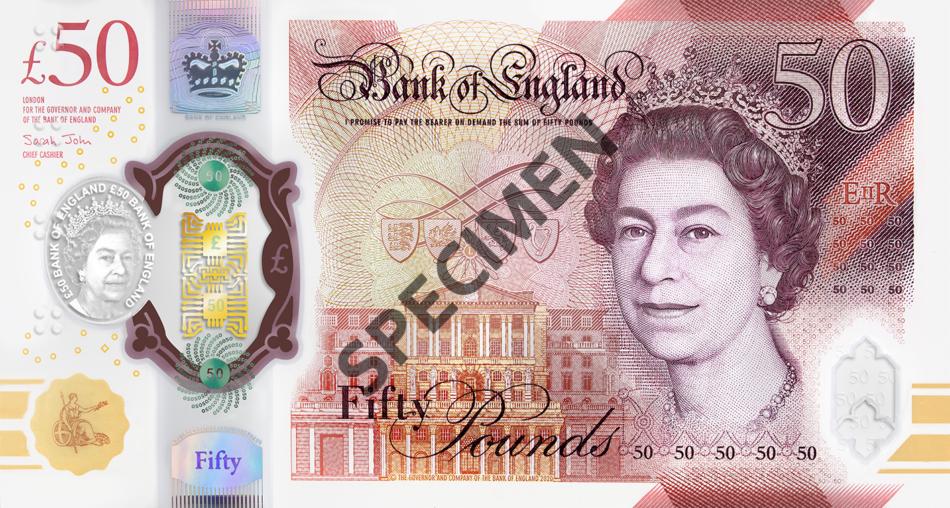 La Banque d'Angleterre dévoile le nouveau billet de 50 livres